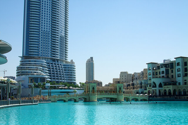 The park beneath the Burj Khalifa tower is a beautifully designed landscale of pools, fountains, shops, restaurants and other towers. Never seen anything quite like it.
